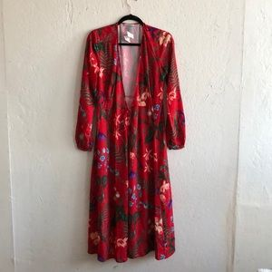 H&M red floral wrap dress